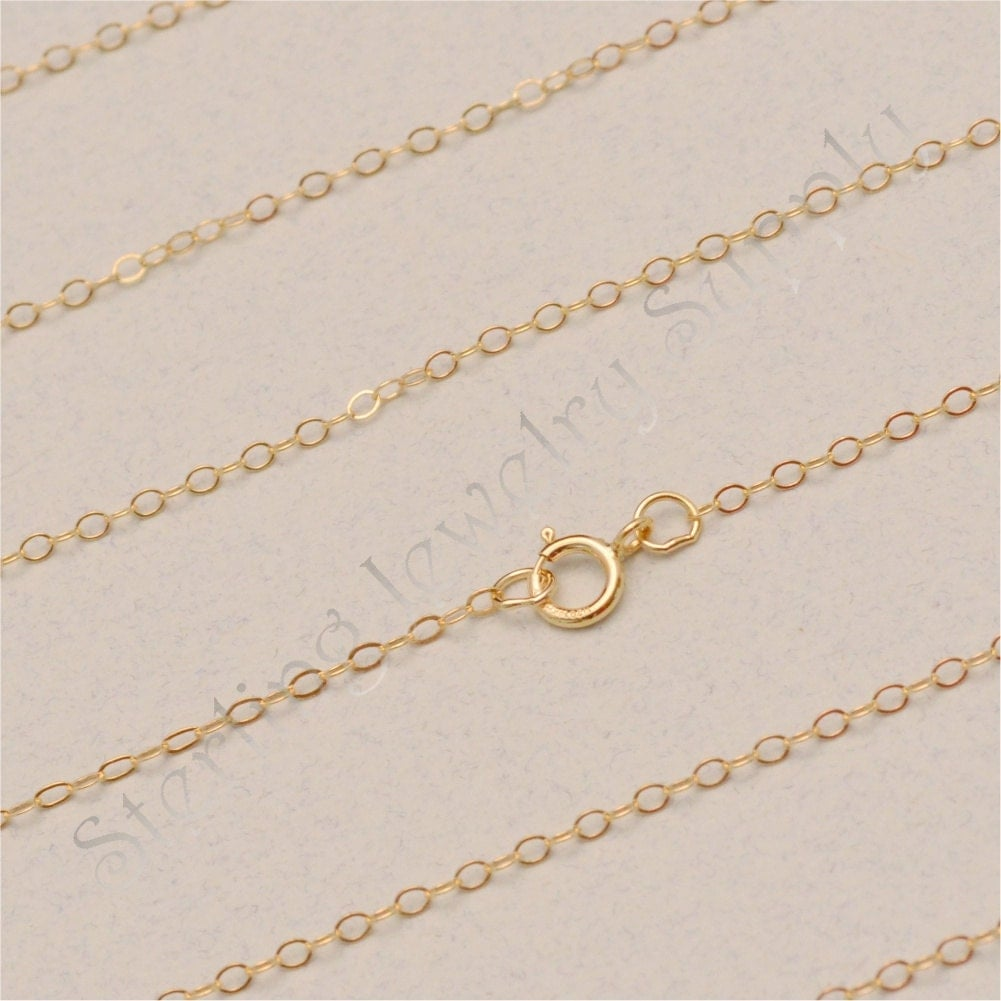 18 Inch 14 Kt Gold Filled 1 4mm Flat Cable Chain 14 20