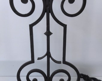 CLEARANCE sale!! vintage wrought iron lamp. black. iron/ Sculptured lamp
