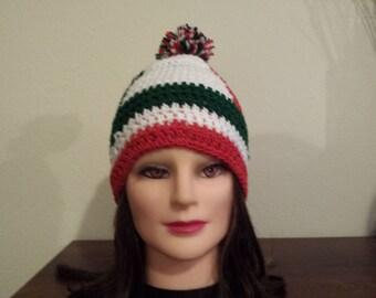 Crochet Mexico flag colors hat.