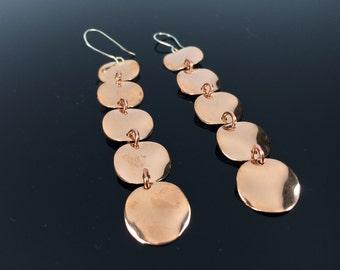 Copper Disk Drop Earrings //Handmade // Hypoallergenic // Steel Ear Wires