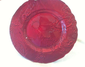 """Stunning Charger Red Plate Cranberry Burgundy Turkey Embossed Paisley Serving Gorgeous 11"""" - 3 Available"""