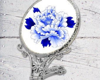 Purple Flower Sublimated Antique Standing Mirror