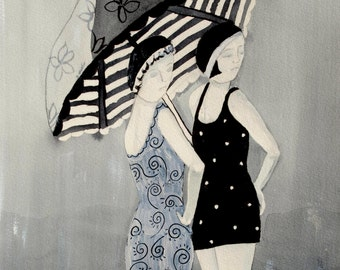 Rainy day at the beach - print in black and white ink