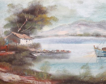 Vintage landscape lake river oil painting