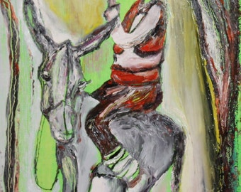 Expressionist man portrait donkey oil painting