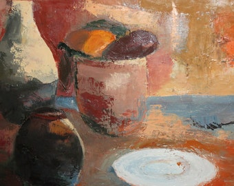 Vintage oil painting expressionist still life