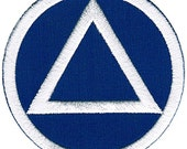 ALCOHOLICS ANONYMOUS iron-on patch SOBER symbol Circle Triangle Sobriety Marker Blue