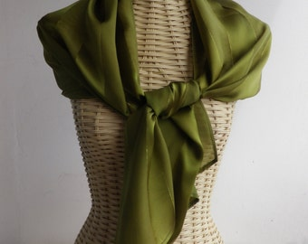 hand painted moss green satin and chiffon scarf