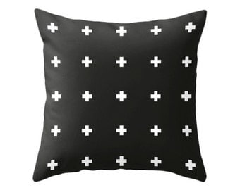 Swiss cross pillow cover. Black and white crosses pillow black and white cushion black and white pillow cross cushion cross throw pillow
