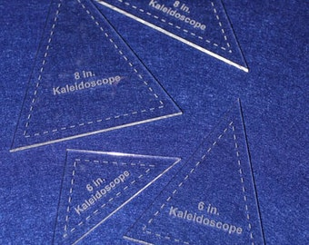"4 Piece Set Kaleidoscope 6"" & 8"" Templates Acrylic 1/8"" thick. Quilting/Sewing"