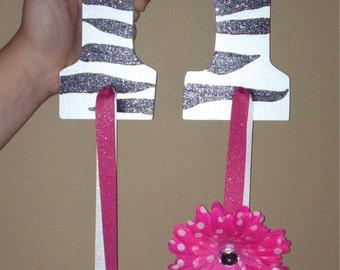 Zebra Initial hairbow holder