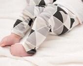 GRAY TRIANGLE LEGGINGS, organic knit baby leggings, gray baby leggings
