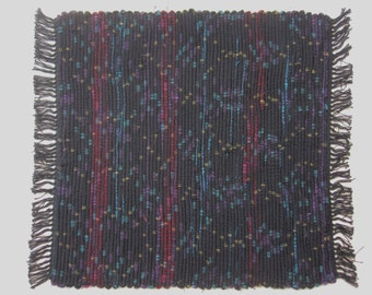 Handwoven Spots and Stripes Wool Rag Rug