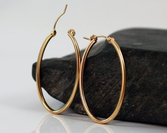Gold hoop earrings , oval hoop earrings , gold  earring 42mm 1.6 inches