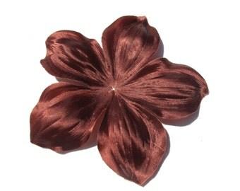 Flower brown silk duchess satin shaped 120 mm