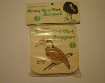 Vintage Jurong Bird Park Singapore coasters. New, still in packaging, never used. Set of 6