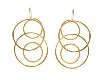 Gold Circle Earrings - Large Hoop earrings - Gold plated Dangle earring - Minimalist earrings