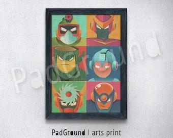 Megaman Poster, Pop Art, Rockman Art Print, Canvas Print, Burlap Print, Home Decor, Wall Decor, Gift, Natural Linen Print with Frame-POA05