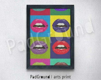Andy Warhol Prints, Mouth Pop Art Print, Modern Home Decor, Colorful Wall Decor, Wall Art, Housewarming Gift, Burlap Print with Frame-POA06