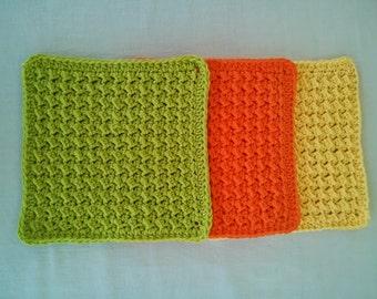 Crochet Wash Cloths, Handmade 100% Cotton, Set of 3, Sherbet