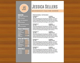 resume cv cover letter the sellers peach gray instant download word template docx doc dotx