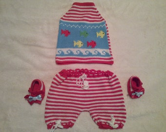 "Hand Knitted & Cotton Baby Set (Halter Top, Bloomers, Booties). ""Fish"" Pattern"