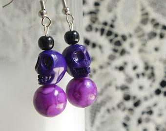Skull earrings, purple skull earrings, halloween earrings