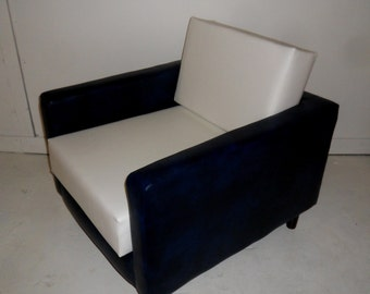 American Diner Urban Retro Chair Upholstered in Premium Navy Blue And White Faux Leather