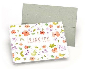 Elegant Set of Thank You Cards - Floral Watercolor Pattern (10 Cards + Sage Green Envelopes)