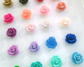 10mm rose flower cabochons, assorted color, pick your amount