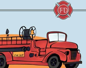 "Red Fire Truck FIREMAN Department Rescue- 11.75"" Fabric Quilt Panel Block- Organic Cotton SATEEN"