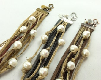 """Enviro-Blends"""" Band bracelet with Genuine leather, recycled Hemp, suede, and Freshwater Pearls"""