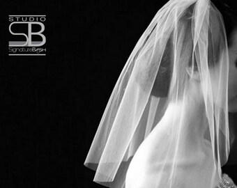 Cut Edge Shoulder Veil | Single Tier Wedding Veil | Shoulder Length Wedding Veil