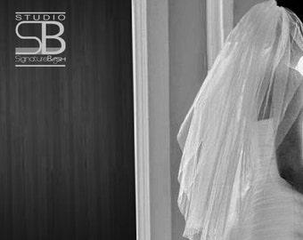 Cut Edge Waist Veil | Single Tier Wedding Veil | Waist Length Wedding Veil