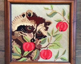 Raccoon Needlepoint Framed Art