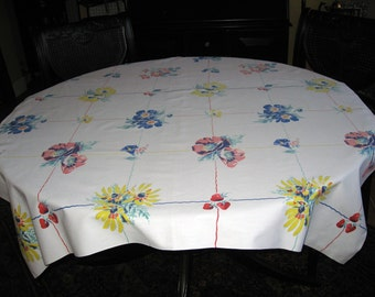 Vintage 1940s cotton tablecloth. Floral and fruit pattern. Strawberries, cherries, and flowers.