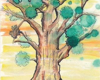 Sunset Tree: 8x10 original watercolor painting.