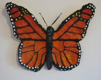 Papier mache Monarch Butterfly wall hanging