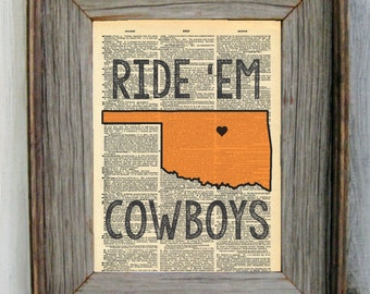 Oklahoma State Ride 'Em Cowboys Dictionary Art Print