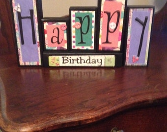Happy Birthday wood block sign