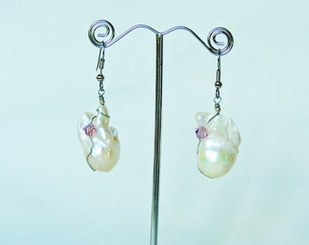 Freshwater baroque pearl earrings