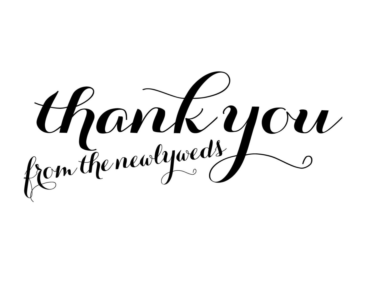 Digital Calligraphy Thank You From The Newlyweds Cards Set