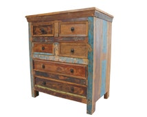 Chest of Drawers, Beautifully Handcrafted in Reclaimed Solid Indian Teak