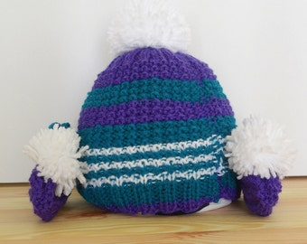 Hand Knitted Baby Beanie and Booties set, 0-3 months. Green/ Purple 2