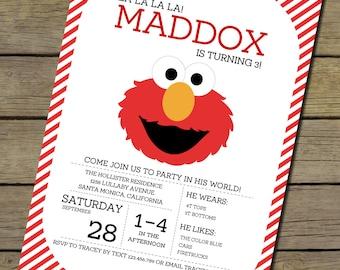Printable Instant Download Elmo Invitation | Elmo Invite | DIY Instant Download Elmo Invitation | Sesame Street Invitation