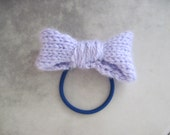 Soft Knitted Hairbow on Elastic Ponytail