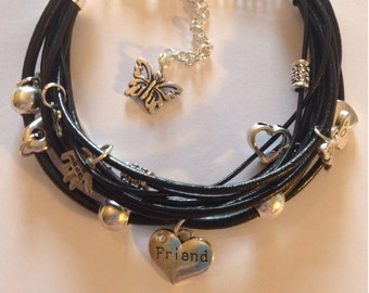 Multilayer leather bracelet with charms