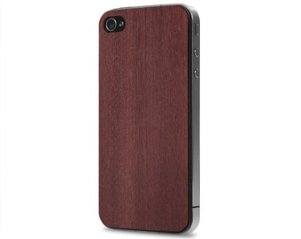 iPhone 4 / 4s #WoodBack Real Wood Skin - Purpleheart (FREE and Fast Delivery)
