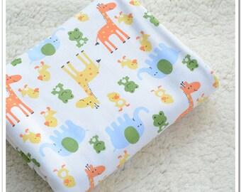 Wide Cotton Knit Fabric, Baby Fabric, Baby Cotton, Stretch Fabric, Giraffe- 1/2 yard