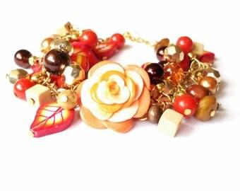 Floral Bracelet Charm Bracelet ( polymer clay jewelry orange bracelet red bracelet rose bracelet bridal bracelet floral jewelry flower )